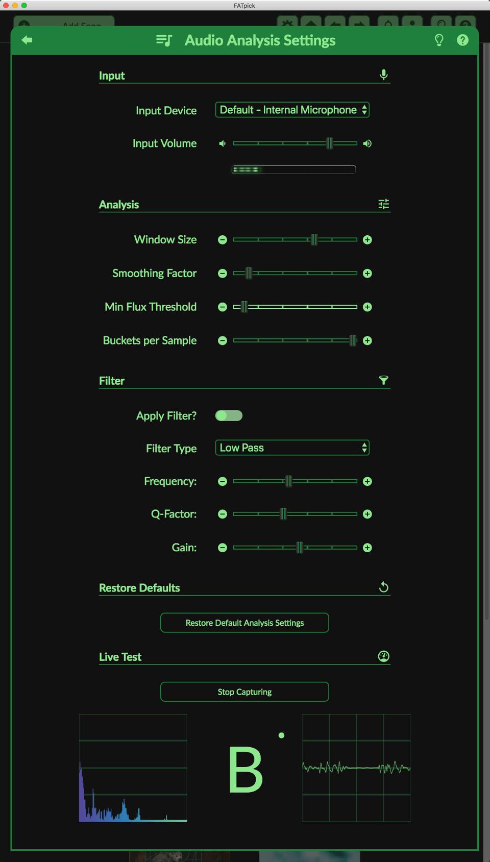 Screenshot of the Advanced Audio Analysis Settings Panel
