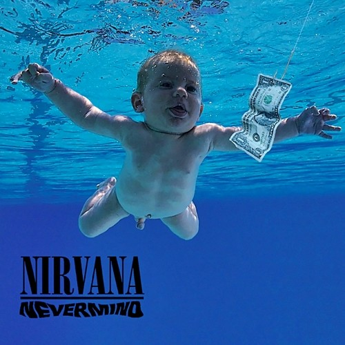 Album cover for Nevermind by Nirvana featuring the song Come As You Are