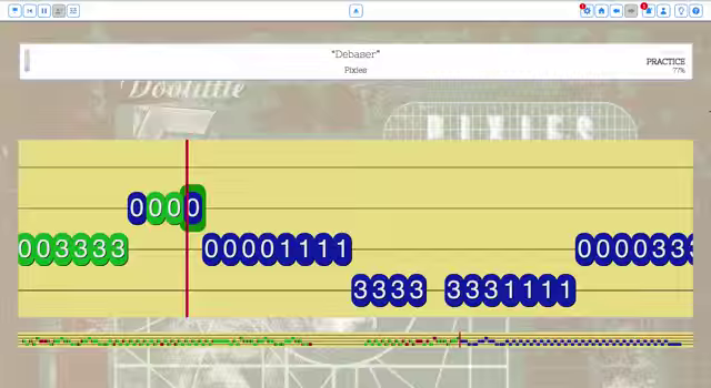 Playing a song in the FATpick tablature view.