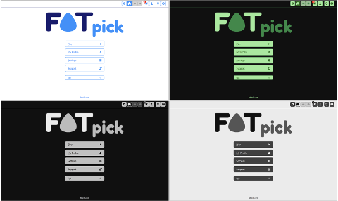 Screenshots of FATpick with different color schemes.